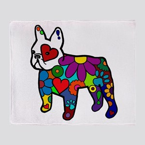 Frenchie Power Throw Blanket