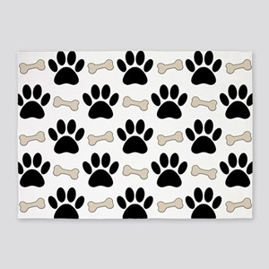 Paws And Bones Pattern 5'x7'Area Rug