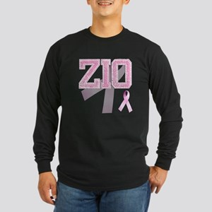 ZIO initials, Pink Ribbon, Long Sleeve Dark T-Shir