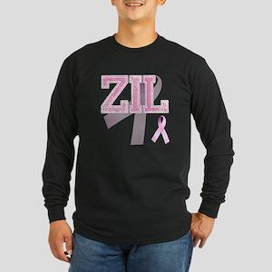 ZIL initials, Pink Ribbon, Long Sleeve Dark T-Shir