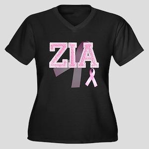 ZIA initials, Pink Ribbon, Women's Plus Size V-Nec