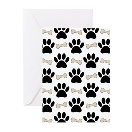 Paws And Bones Pattern Greeting Cards