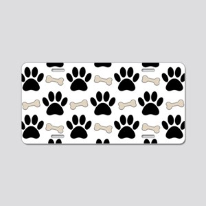 Paws And Bones Pattern Aluminum License Plate