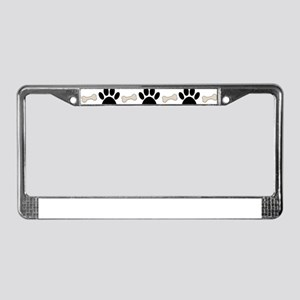 Paws And Bones Pattern License Plate Frame