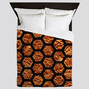 HEXAGON2 BLACK MARBLE & COPPER FOIL (R Queen Duvet