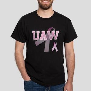 UAW initials, Pink Ribbon, Dark T-Shirt