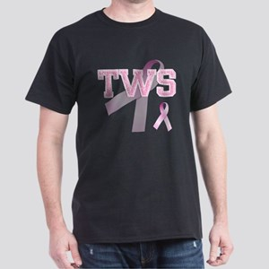 TWS initials, Pink Ribbon, Dark T-Shirt