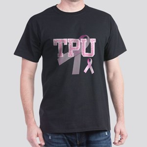 TPU initials, Pink Ribbon, Dark T-Shirt