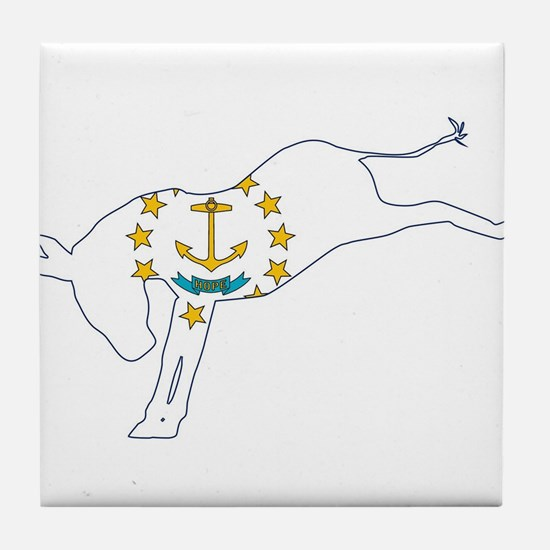 Rhode Island Democrat Donkey Flag Tile Coaster