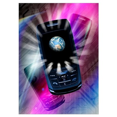 Mobile communication, conceptual artwork Poster