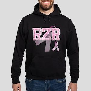 RZR initials, Pink Ribbon, Hoodie (dark)