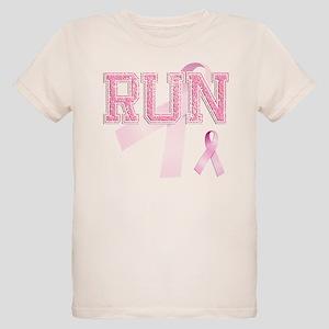 RUN initials, Pink Ribbon, Organic Kids T-Shirt