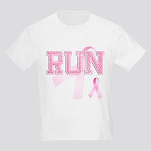RUN initials, Pink Ribbon, Kids Light T-Shirt
