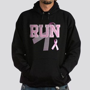 RUN initials, Pink Ribbon, Hoodie (dark)