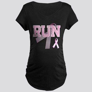 RUN initials, Pink Ribbon, Maternity Dark T-Shirt