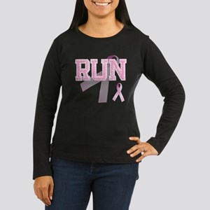 RUN initials, Pink Ribbon, Women's Long Sleeve Dar