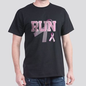 RUN initials, Pink Ribbon, Dark T-Shirt