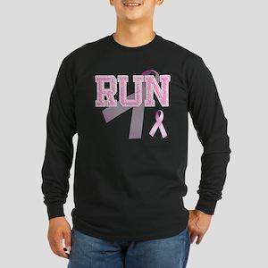 RUN initials, Pink Ribbon, Long Sleeve Dark T-Shir