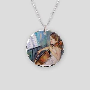 Little Girl Cellist Necklace Circle Charm