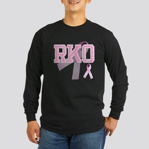 RKO initials, Pink Ribbon, Long Sleeve Dark T-Shir