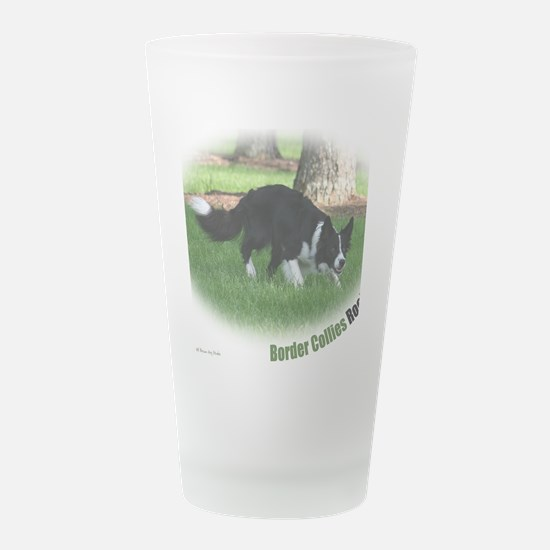 BorderCollieT.jpg Frosted Drinking Glass
