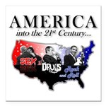 """21st Century America Square Car Magnet 3"""" x 3"""