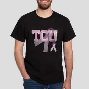 TCU initials, Pink Ribbon, Dark T-Shirt