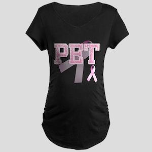 PET initials, Pink Ribbon, Maternity Dark T-Shirt