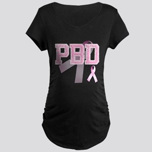 PBD initials, Pink Ribbon, Maternity Dark T-Shirt
