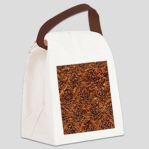 DAMASK1 BLACK MARBLE & COPPER FOI Canvas Lunch Bag