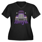 Trucker Tanya Women's Plus Size V-Neck Dark T-Shir