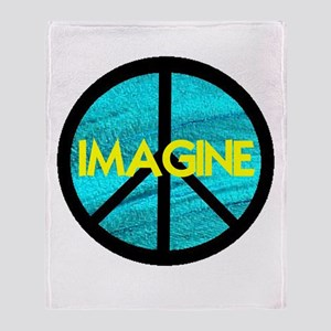 IMAGINE with PEACE SYMBOL Throw Blanket