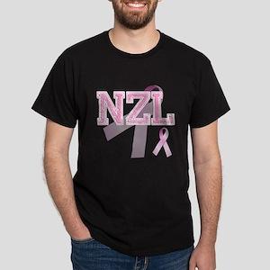 NZL initials, Pink Ribbon, Dark T-Shirt