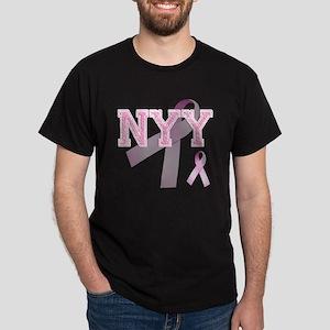 NYY initials, Pink Ribbon, Dark T-Shirt