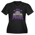Trucker Tina Women's Plus Size V-Neck Dark T-Shirt