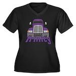 Trucker Trinity Women's Plus Size V-Neck Dark T-Sh
