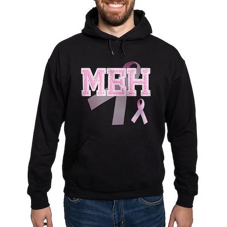 MEH initials, Pink Ribbon, Hoodie (dark)