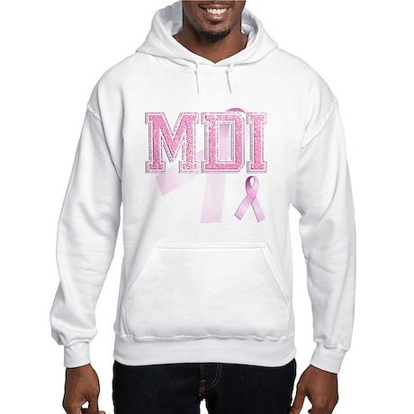 MDI initials, Pink Ribbon, Hooded Sweatshirt
