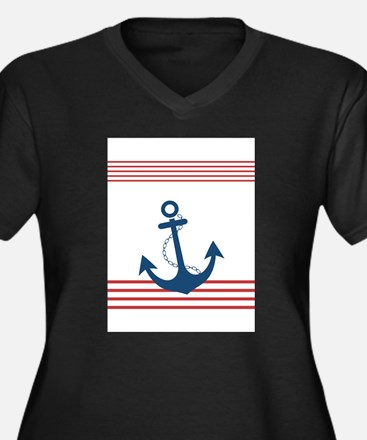 Nautical Striped Design with Anc Plus Size T-Shirt