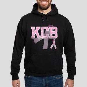 KCB initials, Pink Ribbon, Hoodie (dark)