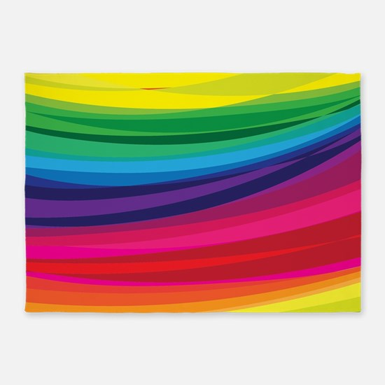 Bright Multicolored Rainbow Arcs 5'x7'Area Rug