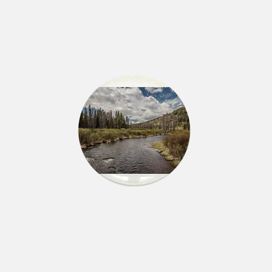Mountain River Mini Button