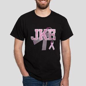 JKE initials, Pink Ribbon, Dark T-Shirt