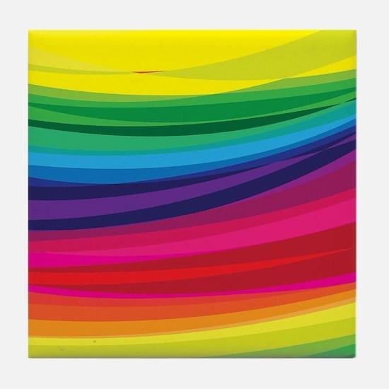 Bright Multicolored Rainbow Arcs Tile Coaster