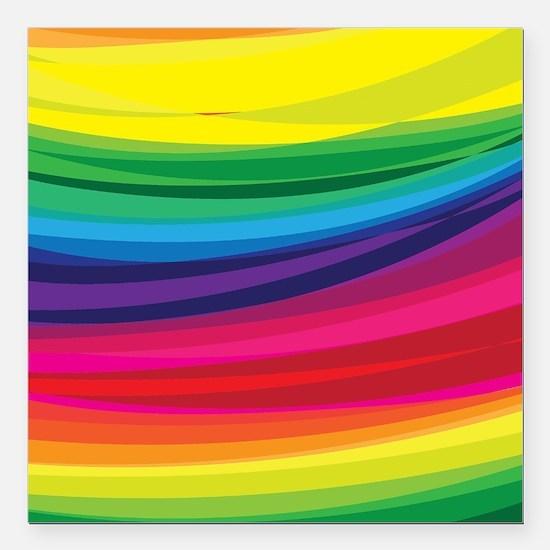 """Bright Multicolored Rain Square Car Magnet 3"""" x 3"""""""