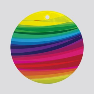Bright Multicolored Rainbow Arcs Round Ornament