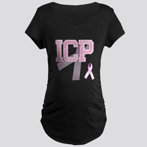ICP initials, Pink Ribbon, Maternity Dark T-Shirt