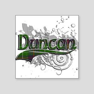 "Duncan Tartan Grunge Square Sticker 3"" x 3"""