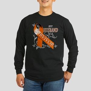 My Husband is a Survivor Long Sleeve Dark T-Shirt