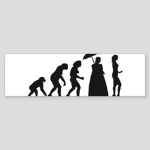 evolution of women Sticker (Bumper)